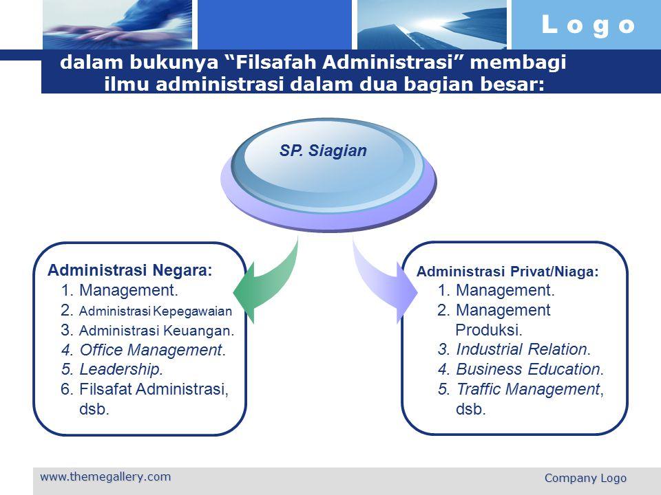 dalam bukunya Filsafah Administrasi membagi ilmu administrasi dalam dua bagian besar: