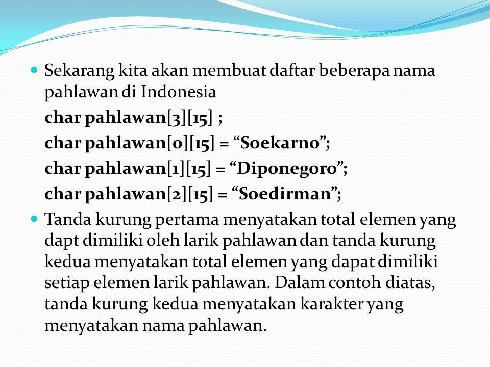 Sekarang kita akan membuat daftar beberapa nama pahlawan di Indonesia