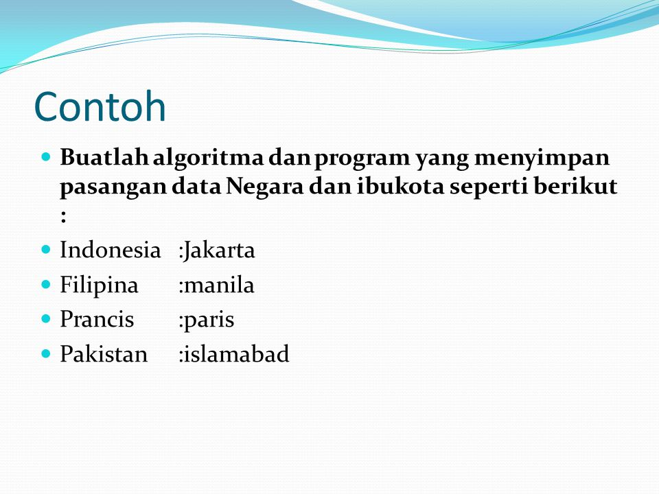 Contoh Buatlah algoritma dan program yang menyimpan pasangan data Negara dan ibukota seperti berikut :