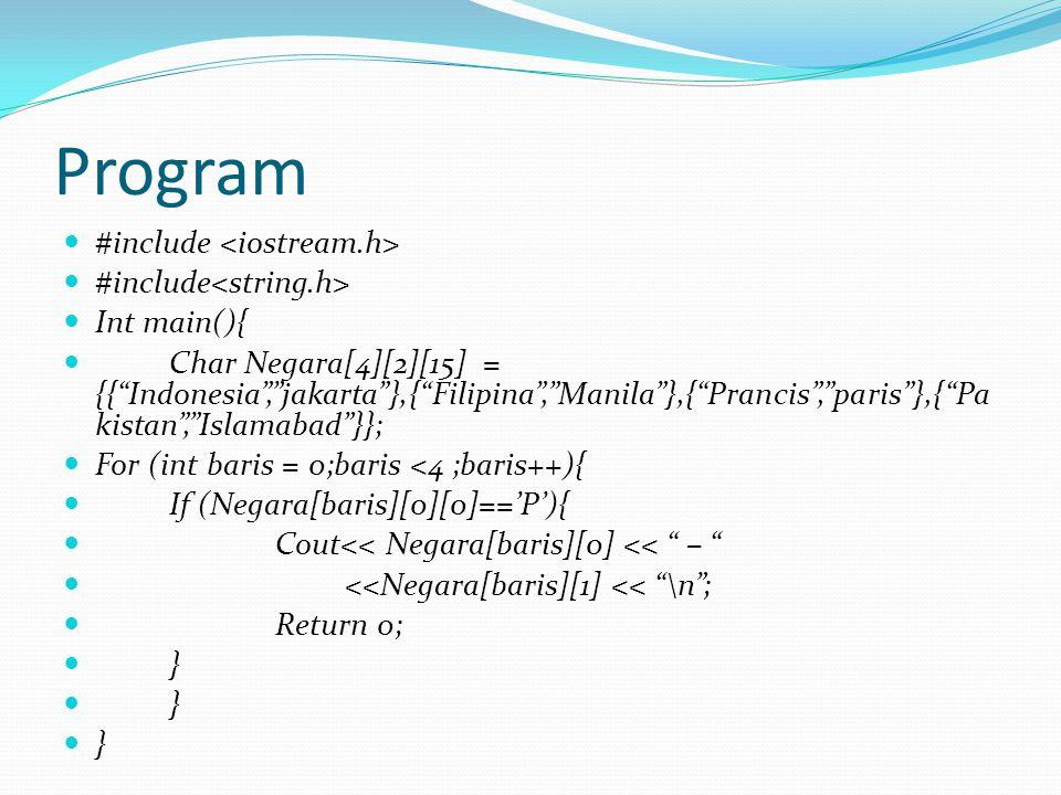 Program #include <iostream.h> #include<string.h>