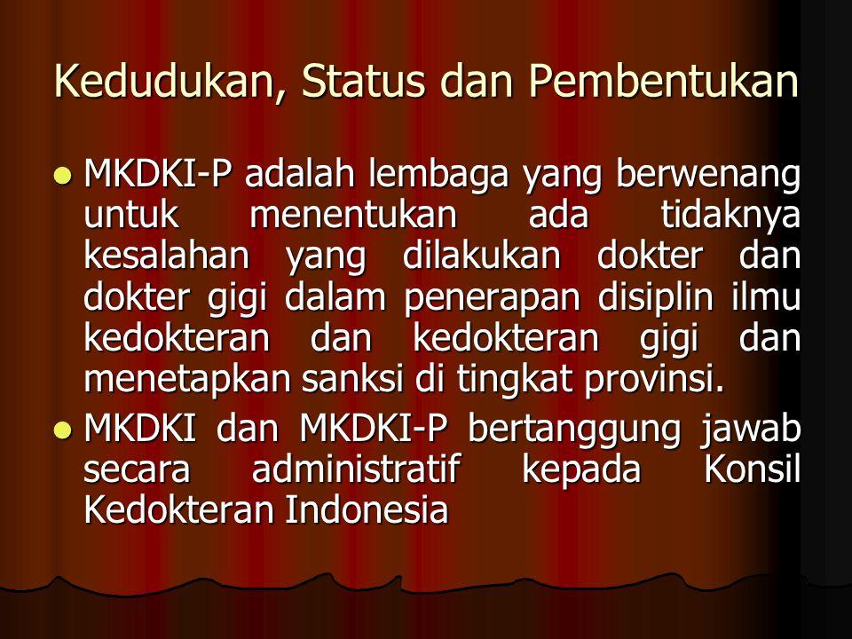 Kedudukan, Status dan Pembentukan