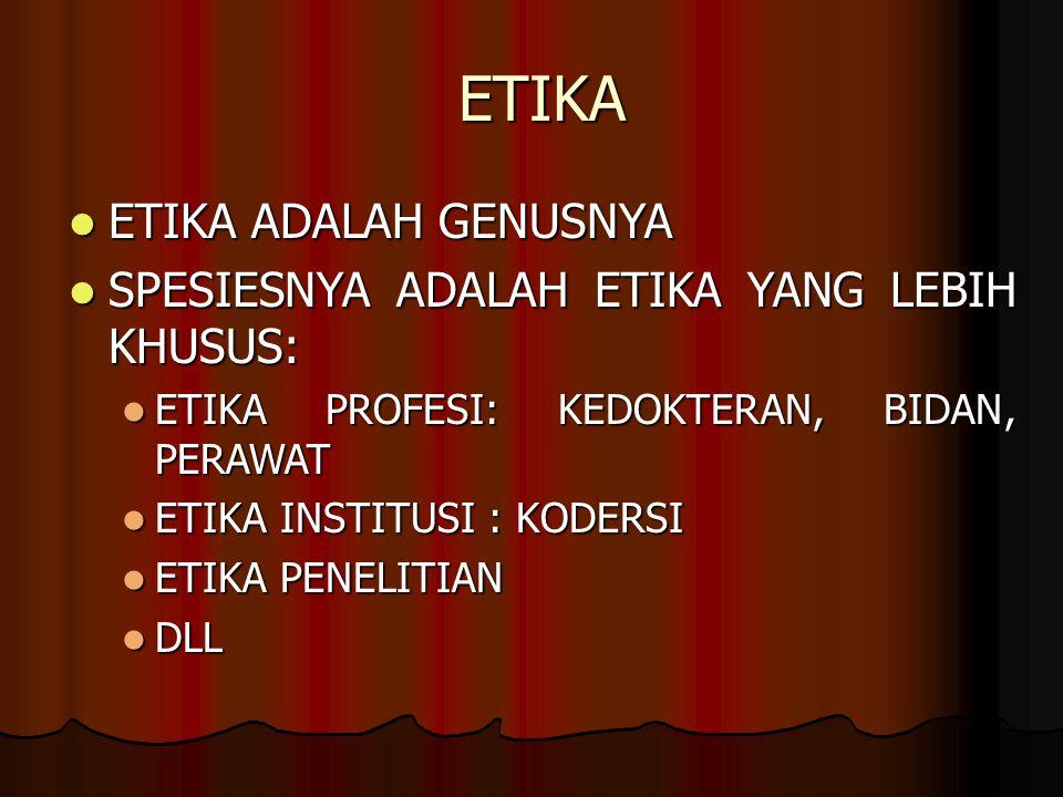 ETIKA ETIKA ADALAH GENUSNYA SPESIESNYA ADALAH ETIKA YANG LEBIH KHUSUS: