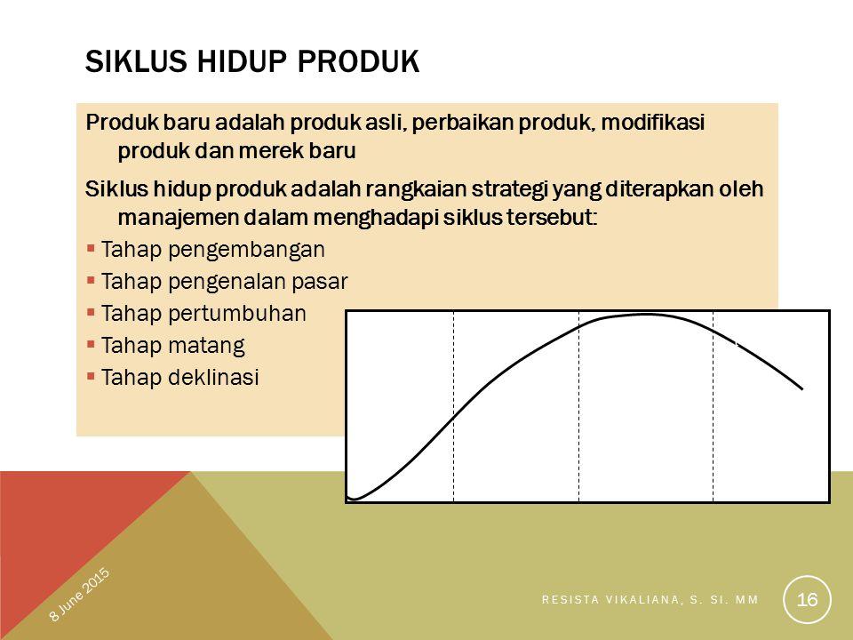 Siklus Hidup Produk Produk baru adalah produk asli, perbaikan produk, modifikasi produk dan merek baru.