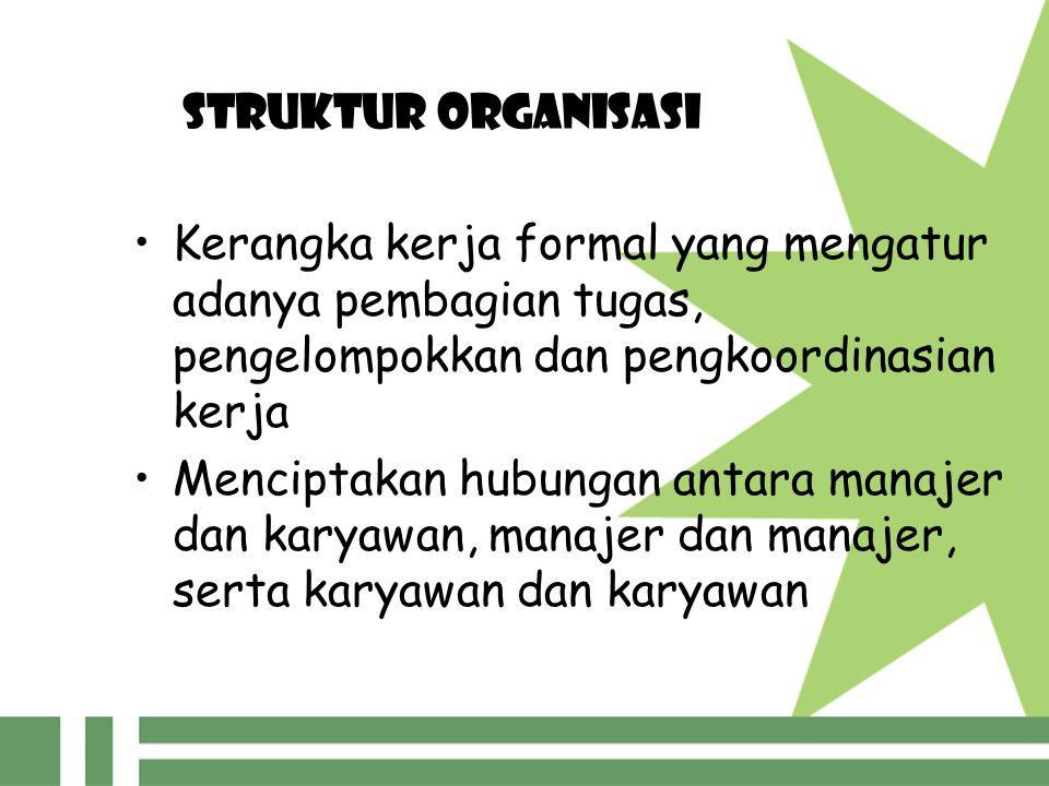 STRUKTUR ORGANISASI Kerangka kerja formal yang mengatur adanya pembagian tugas, pengelompokkan dan pengkoordinasian kerja.