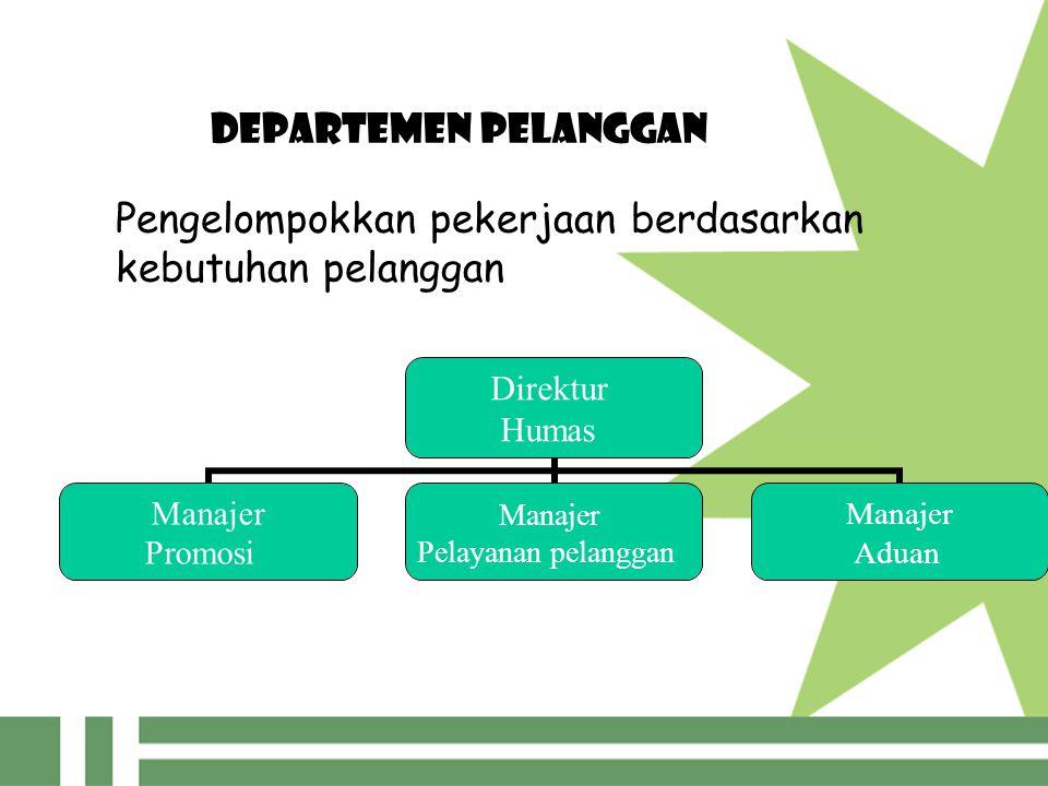 DEPARTEMEN PELANGGAN Pengelompokkan pekerjaan berdasarkan kebutuhan pelanggan