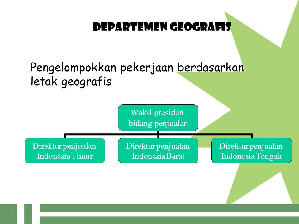 DEPARTEMEN GEOGRAFIS Pengelompokkan pekerjaan berdasarkan letak geografis