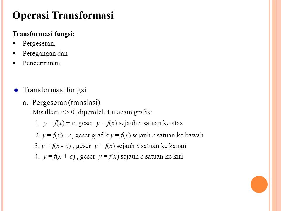 Operasi Transformasi Transformasi fungsi a. Pergeseran (translasi)