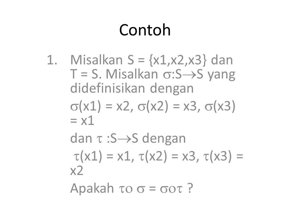 Contoh Misalkan S = {x1,x2,x3} dan T = S. Misalkan :SS yang didefinisikan dengan. (x1) = x2, (x2) = x3, (x3) = x1.