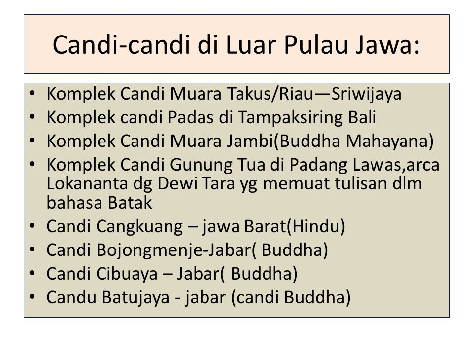 Candi-candi di Luar Pulau Jawa: