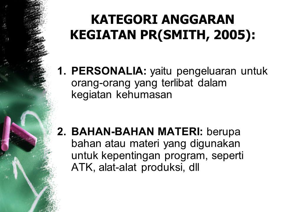 KATEGORI ANGGARAN KEGIATAN PR(SMITH, 2005):