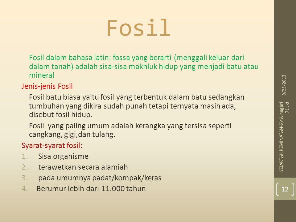 Fosil Fosil dalam bahasa latin: fossa yang berarti (menggali keluar dari dalam tanah) adalah sisa-sisa makhluk hidup yang menjadi batu atau mineral.