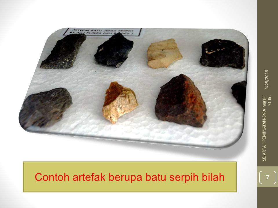 Contoh artefak berupa batu serpih bilah