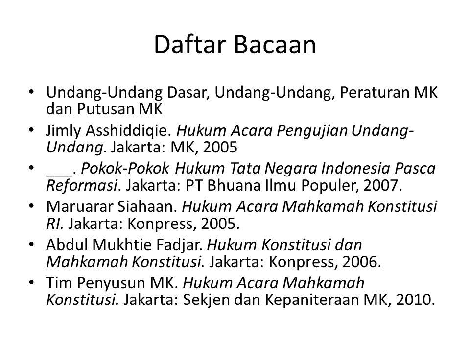 Daftar Bacaan Undang-Undang Dasar, Undang-Undang, Peraturan MK dan Putusan MK.