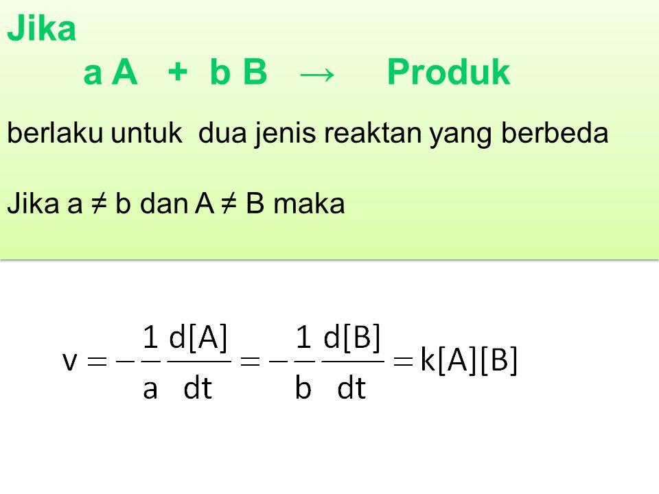Jika a A + b B → Produk berlaku untuk dua jenis reaktan yang berbeda