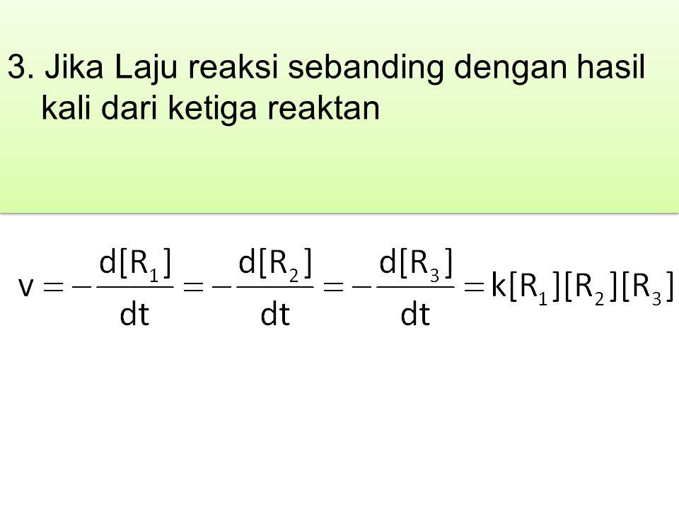 3. Jika Laju reaksi sebanding dengan hasil kali dari ketiga reaktan