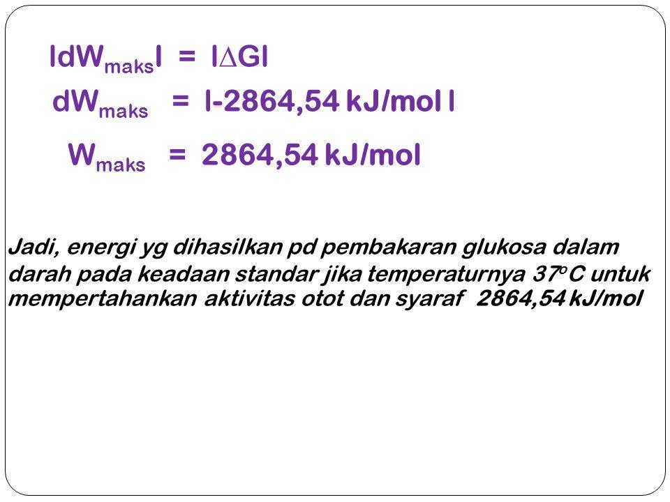 ldWmaksI = lGl dWmaks = l-2864,54 kJ/mol l Wmaks = 2864,54 kJ/mol