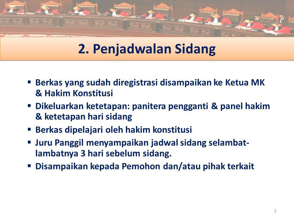2. Penjadwalan Sidang Berkas yang sudah diregistrasi disampaikan ke Ketua MK & Hakim Konstitusi.