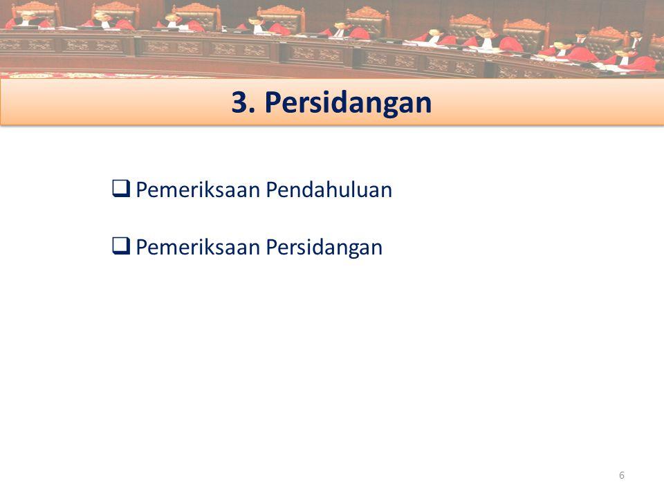 3. Persidangan Pemeriksaan Pendahuluan Pemeriksaan Persidangan