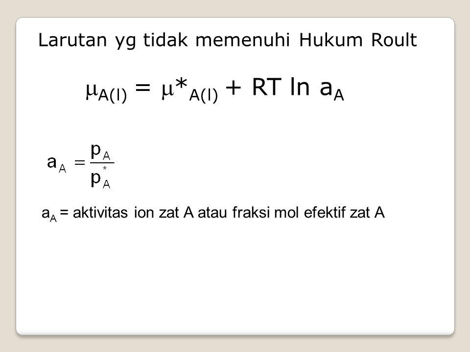 Larutan yg tidak memenuhi Hukum Roult A(l) = *A(l) + RT ln aA