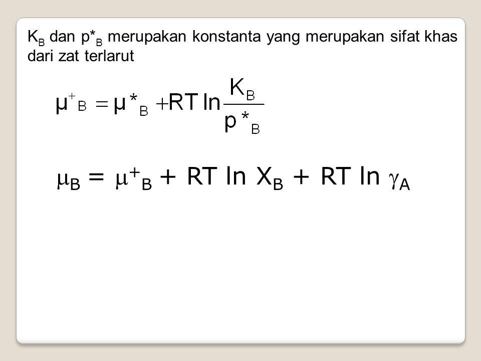 KB dan p*B merupakan konstanta yang merupakan sifat khas dari zat terlarut