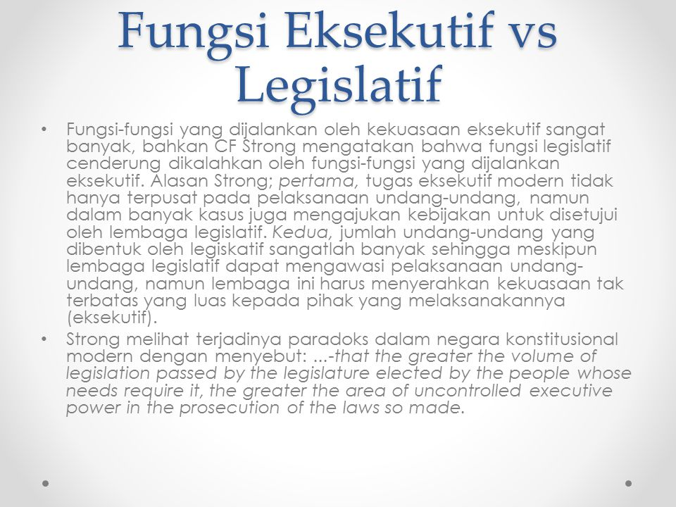 Fungsi Eksekutif vs Legislatif
