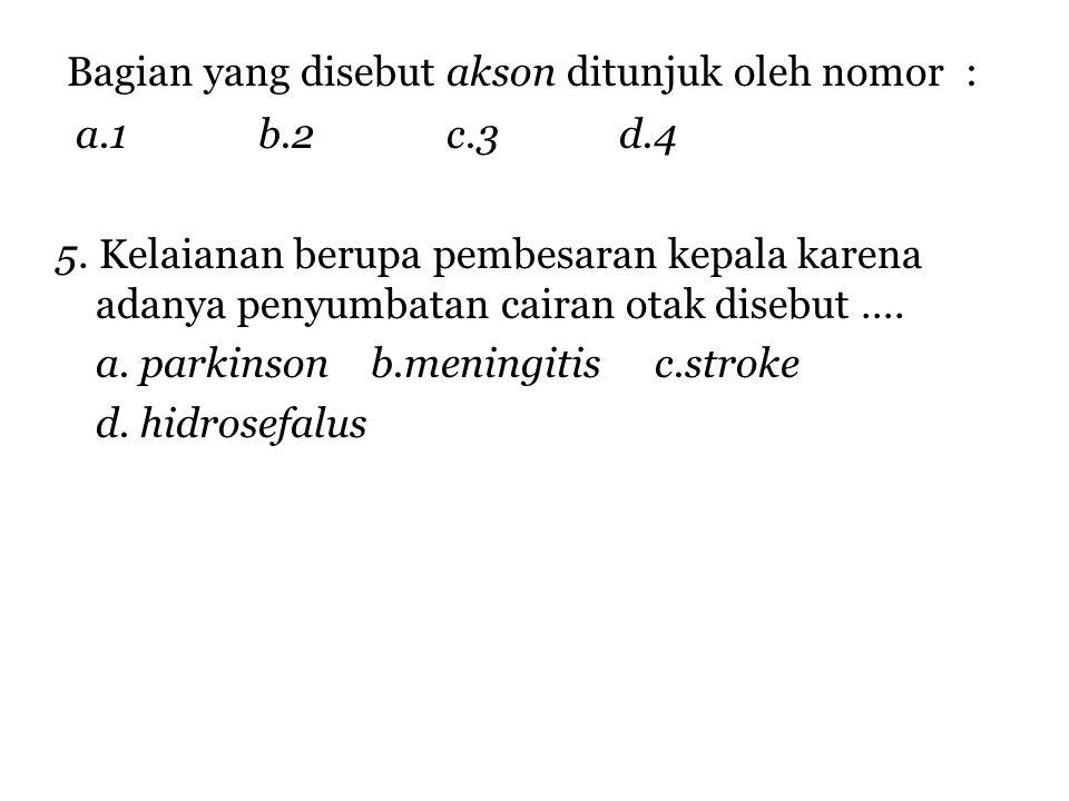 Bagian yang disebut akson ditunjuk oleh nomor :