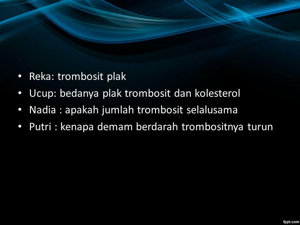 Reka: trombosit plak Ucup: bedanya plak trombosit dan kolesterol. Nadia : apakah jumlah trombosit selalusama.