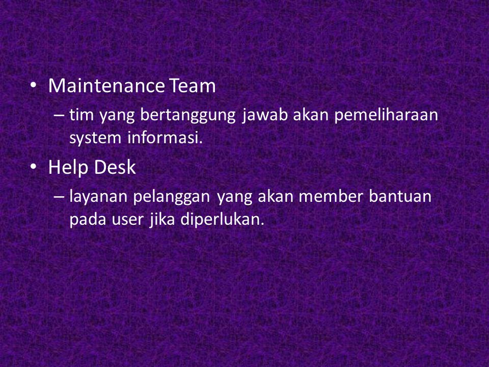 Maintenance Team Help Desk