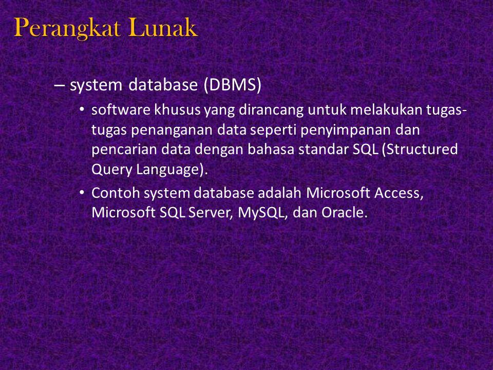 Perangkat Lunak system database (DBMS)