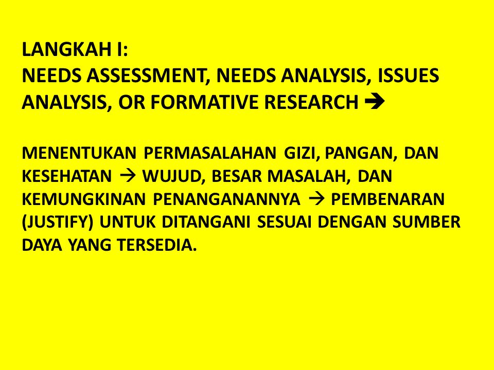 LANGKAH I: NEEDS ASSESSMENT, NEEDS ANALYSIS, ISSUES ANALYSIS, OR FORMATIVE RESEARCH 