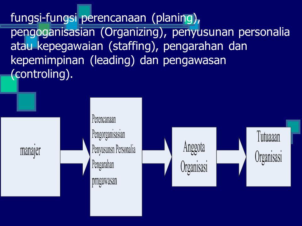 fungsi-fungsi perencanaan (planing), pengoganisasian (Organizing), penyusunan personalia atau kepegawaian (staffing), pengarahan dan kepemimpinan (leading) dan pengawasan (controling).