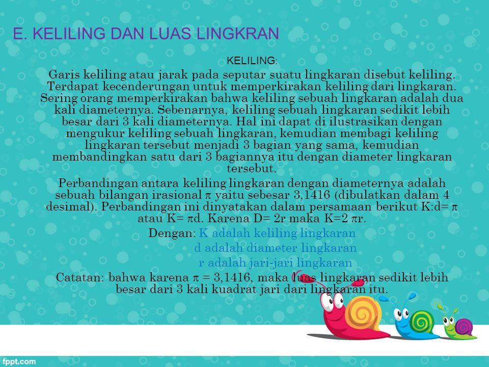 E. KELILING DAN LUAS LINGKRAN