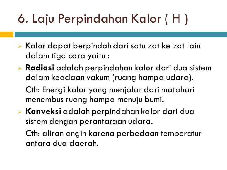 6. Laju Perpindahan Kalor ( H )
