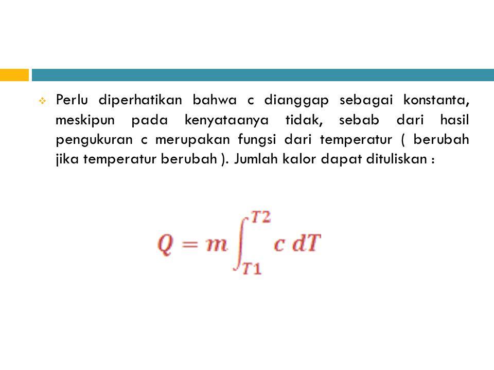 Perlu diperhatikan bahwa c dianggap sebagai konstanta, meskipun pada kenyataanya tidak, sebab dari hasil pengukuran c merupakan fungsi dari temperatur ( berubah jika temperatur berubah ).