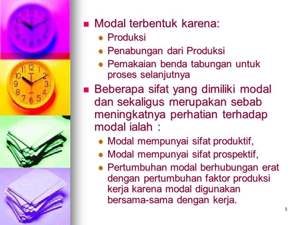 Modal terbentuk karena: