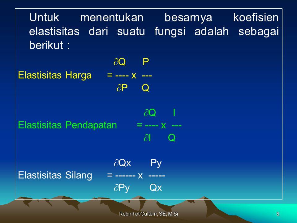 Untuk menentukan besarnya koefisien elastisitas dari suatu fungsi adalah sebagai berikut :