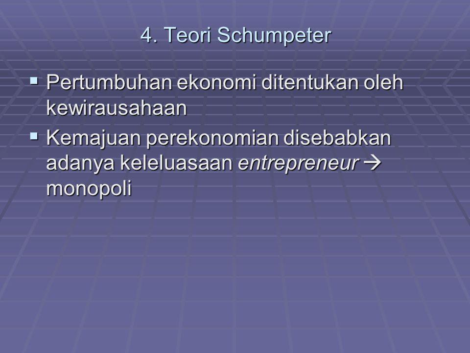 4. Teori Schumpeter Pertumbuhan ekonomi ditentukan oleh kewirausahaan.