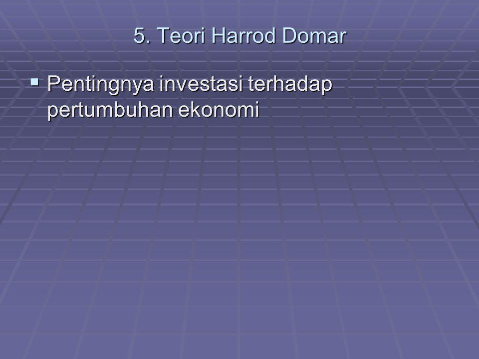 5. Teori Harrod Domar Pentingnya investasi terhadap pertumbuhan ekonomi