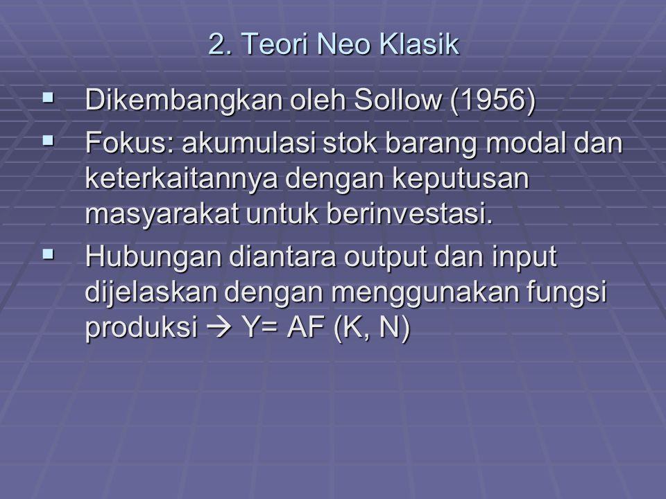 2. Teori Neo Klasik Dikembangkan oleh Sollow (1956)
