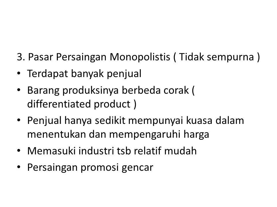 3. Pasar Persaingan Monopolistis ( Tidak sempurna )