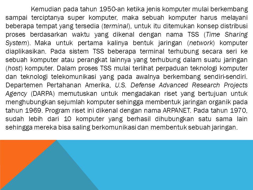 Kemudian pada tahun 1950-an ketika jenis komputer mulai berkembang sampai terciptanya super komputer, maka sebuah komputer harus melayani beberapa tempat yang tersedia (terminal), untuk itu ditemukan konsep distribusi proses berdasarkan waktu yang dikenal dengan nama TSS (Time Sharing System).