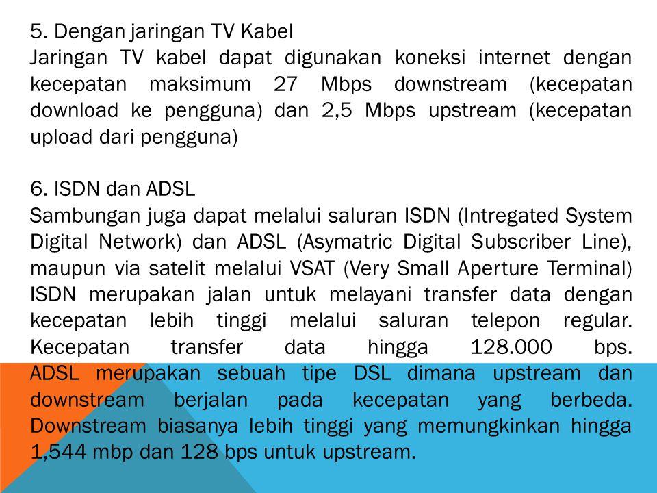 5. Dengan jaringan TV Kabel