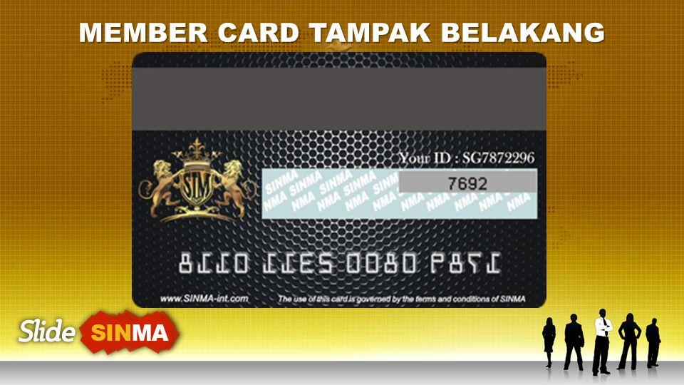 MEMBER CARD TAMPAK BELAKANG