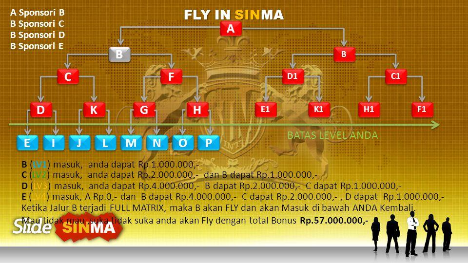 FLY IN SINMA A B B C F D K G H E I J L M N O P BATAS LEVEL ANDA