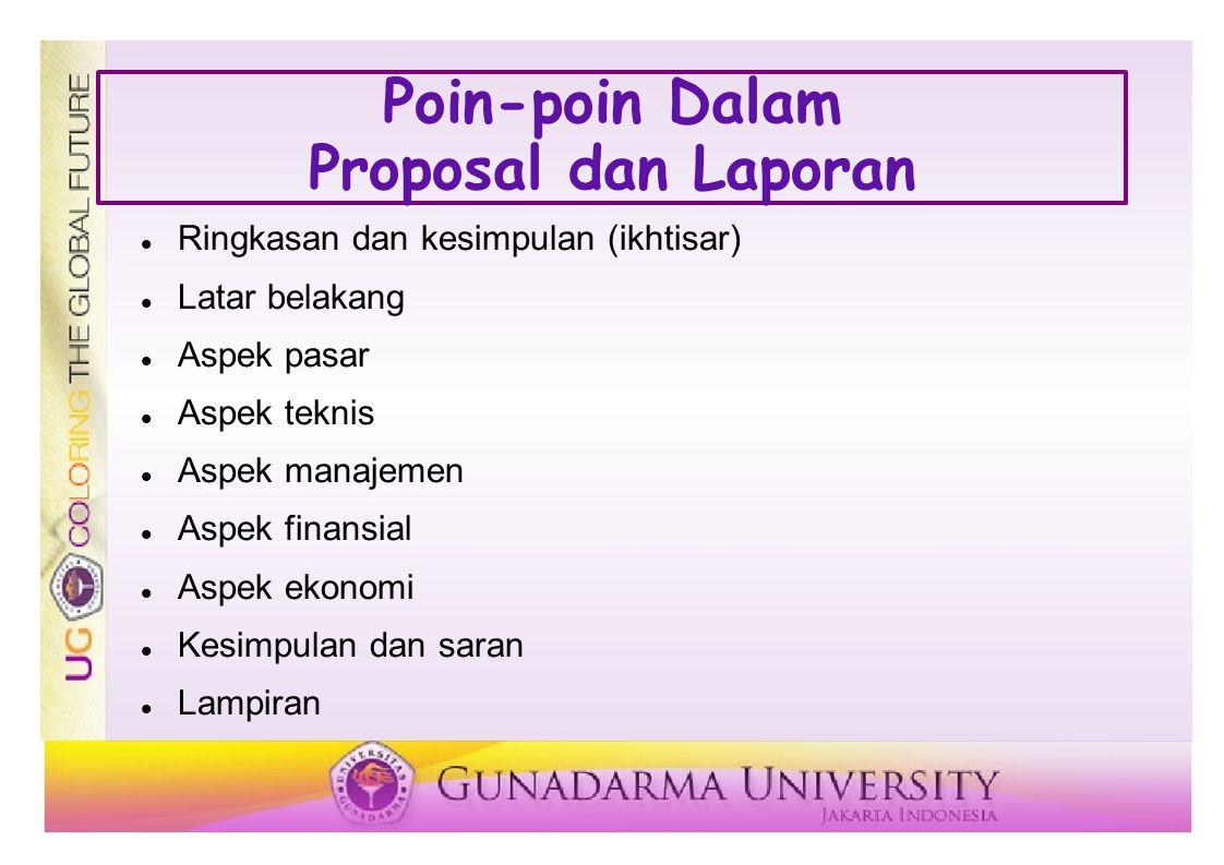 Poin-poin Dalam Proposal dan Laporan