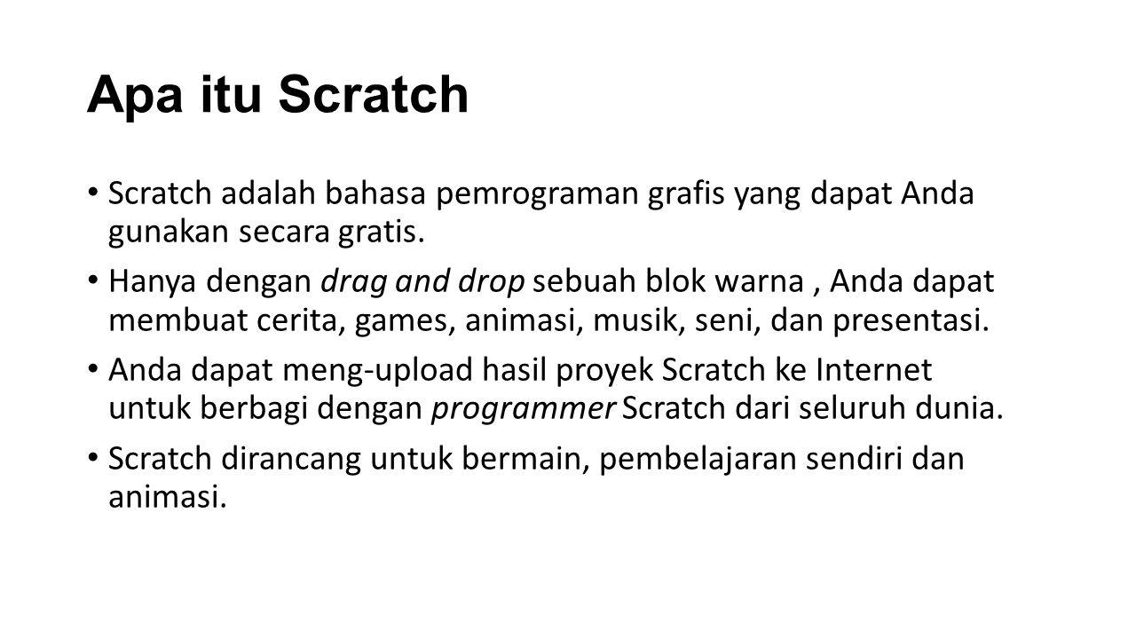 Apa itu Scratch Scratch adalah bahasa pemrograman grafis yang dapat Anda gunakan secara gratis.