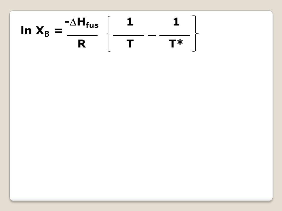 -Hfus R 1 T 1 T* ln XB = ____ ____ _ ____
