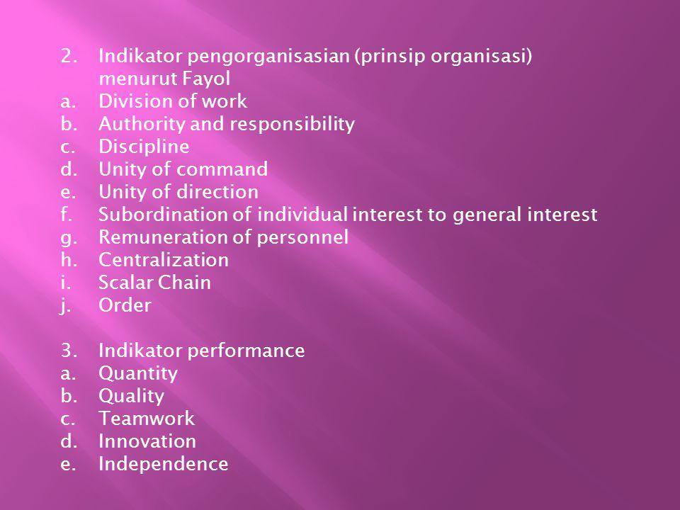 Indikator pengorganisasian (prinsip organisasi) menurut Fayol