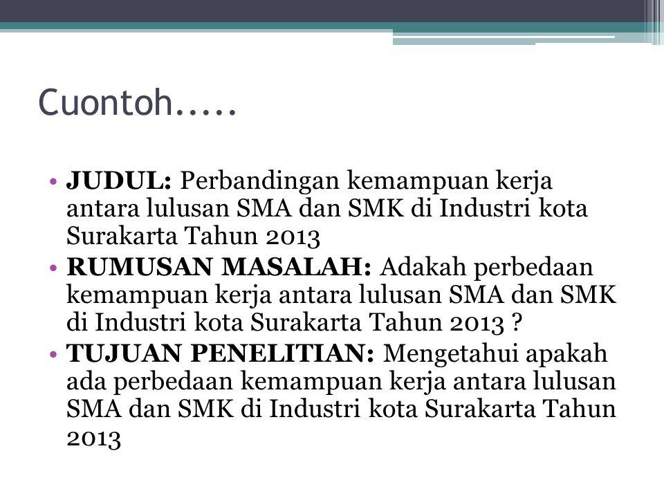 Cuontoh..... JUDUL: Perbandingan kemampuan kerja antara lulusan SMA dan SMK di Industri kota Surakarta Tahun 2013.