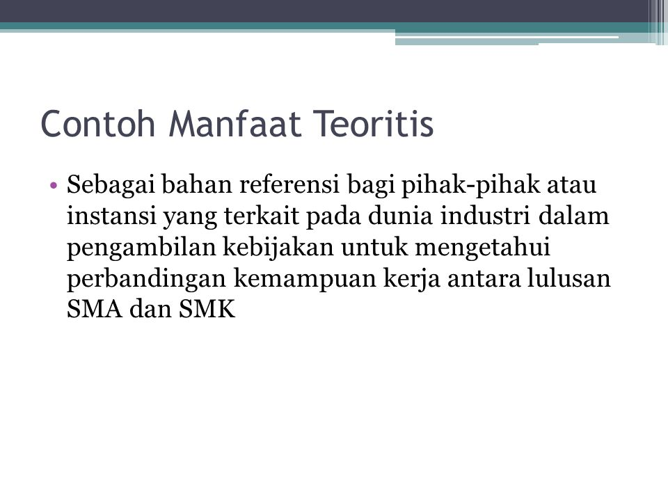 Contoh Manfaat Teoritis